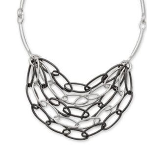 Hematite & Silver Plated Necklace - Simplicity,